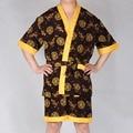 Recién llegado de china dragón bordado ropa de dormir conjunto verano hombres Robes de imitación de seda Home use hombre vestido de pijamas