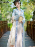 2019 summer lady girl chinese traditional ancient tang suit hanfu costumes adult female womens hanfu dress stage costumes hanfu