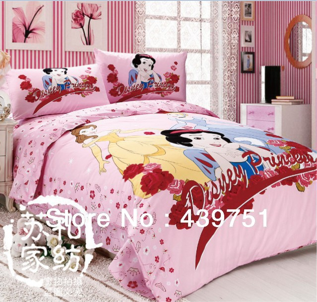 Pink girls princess bedding set/ mickey mouse and minnie mouse ...