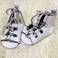 50pairs/lot summer genuine leather baby barefoot sandals soft sole lace up baby girls gladiator sandals kids shoes wholesale