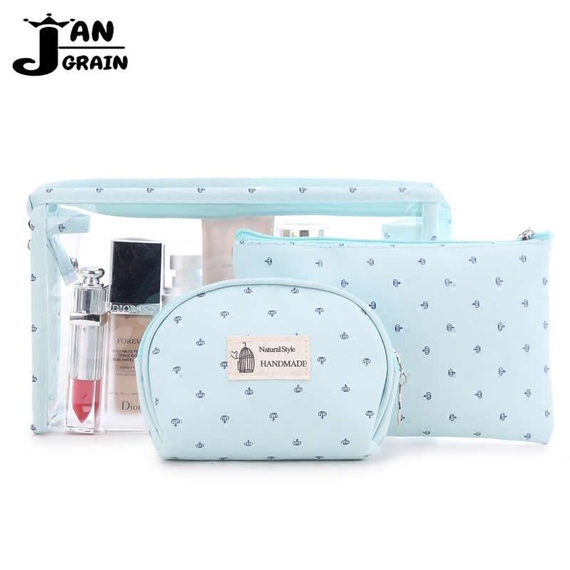 3 Set Frauen Reisen Kosmetik Tasche Transparent Zipper Crown Machen Up Tasche Waschen Kit Taschen Make-up Veranstalter Lagerung Schönheit Toiletry Fall