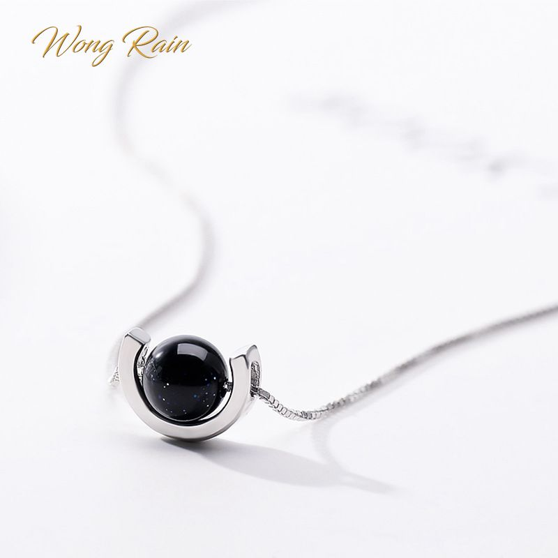 Wong Rain 925 Sterling Silver Blue Sand Aventurine Stone Pendant Necklace Cocktail Anniversary Jewelry Women Gifts Wholesale