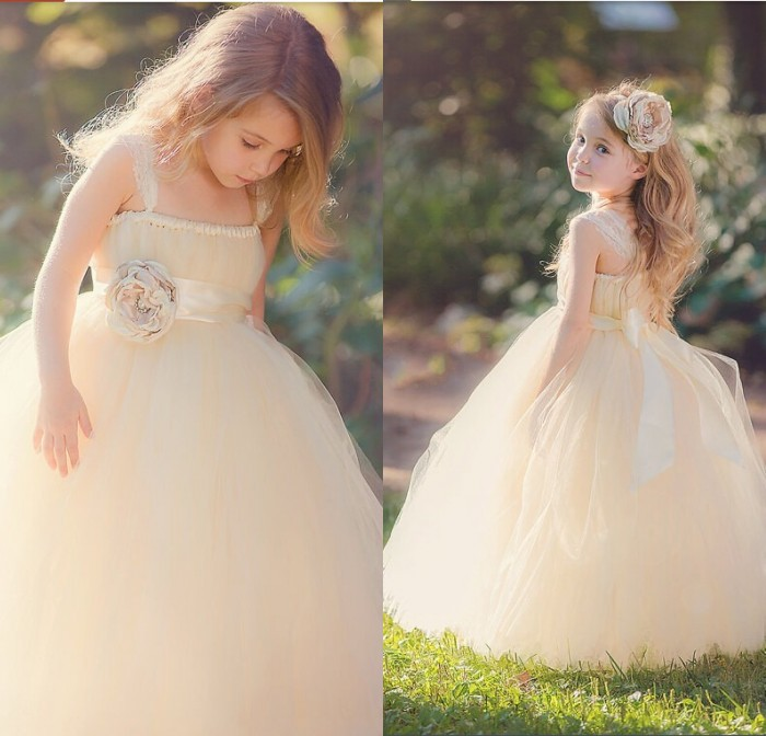 Beige 2019   Flower     Girl     Dresses   For Weddings Ball Gown Boat Neck Tulle Long First Communion   Dresses   For Little   Girls
