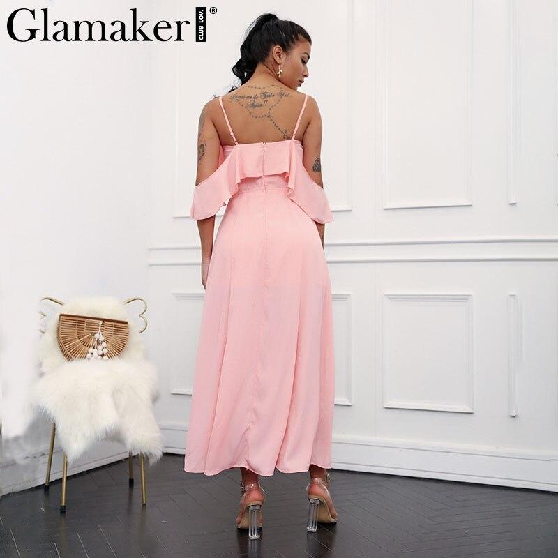Glamaker Buttons ruffle chiffon maxi dress Women halter party dress vestidos High split casual summer dress sexy sundress