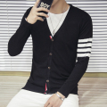 New Brand Clothing Men's Sweaters Knitted Cardigan Coat Men Sleeve Striped V Neck Autumn Casual Slim Fit Sweatercoat Male 5XL