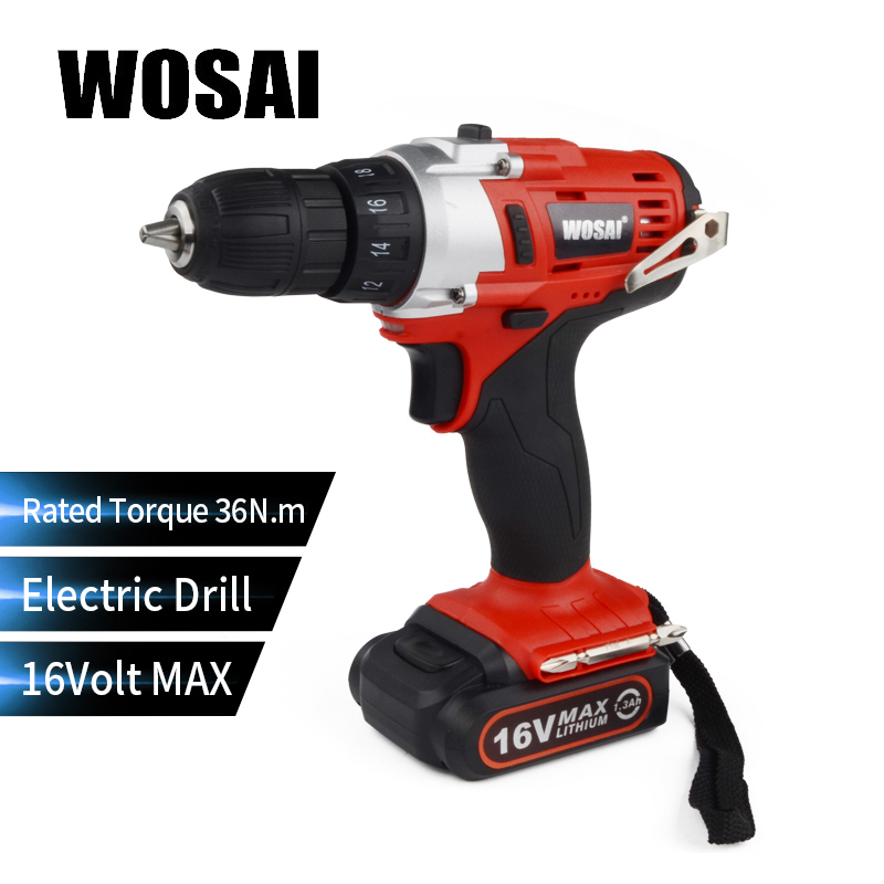 WOSAI 16V Two Speed Rechargeable Hand Drill cordless Lithium Battery Electric Drill Mini Drill Screwdriver Wireless