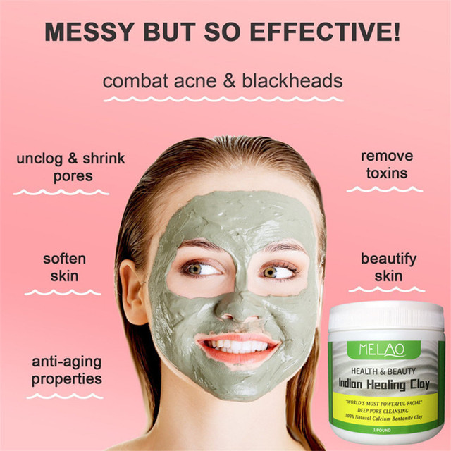 Deep Cleansing Indian Healing Clay Face Mask Powder Natural Skin Pore Moisturizing Replenishment Oil Control Shrink Pores 4