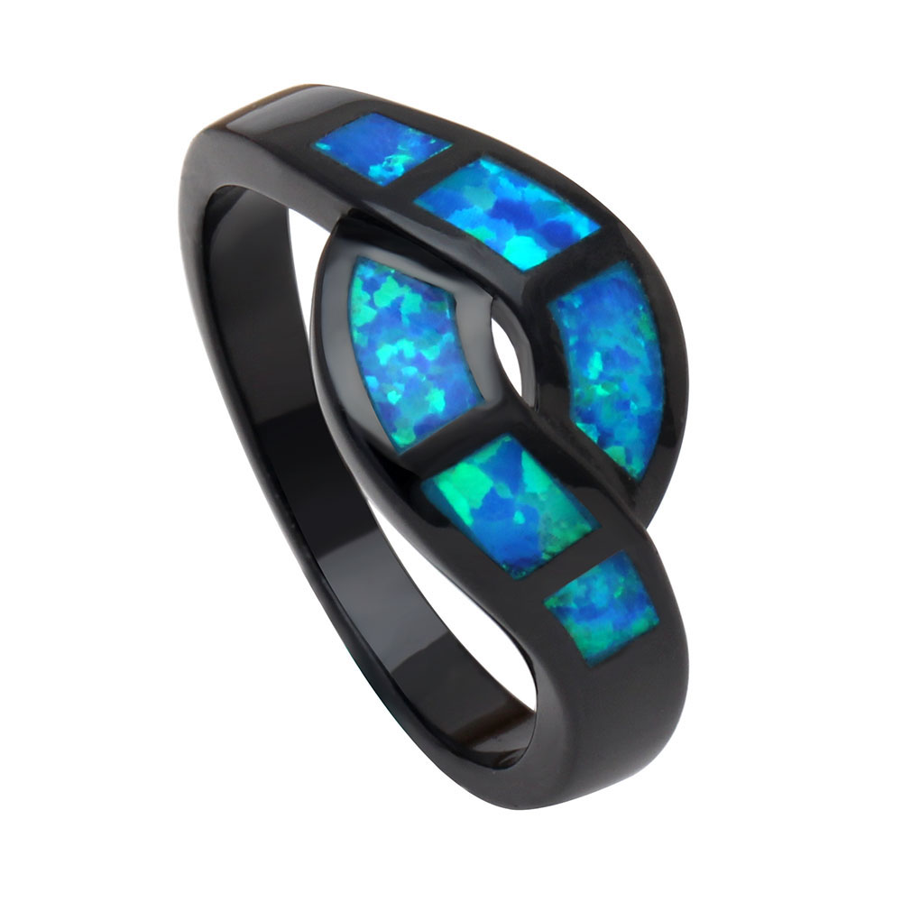 Opal Rings Jewelry Wedding engagement Party blue cross Rings For Women simple black color finger ring drop shipping