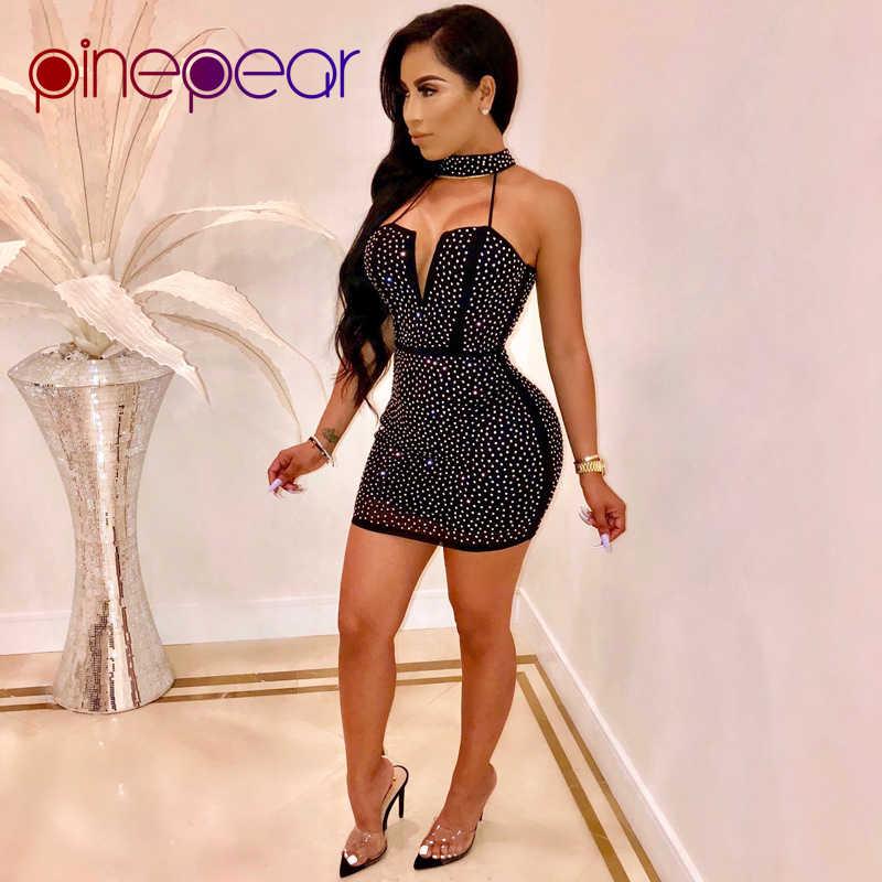 f99bf258b7b PinePear 2019 NEW Winter Women Diamond Glitter Dress Turtleneck Deep V  Strapless Hollow Out Sexy Night