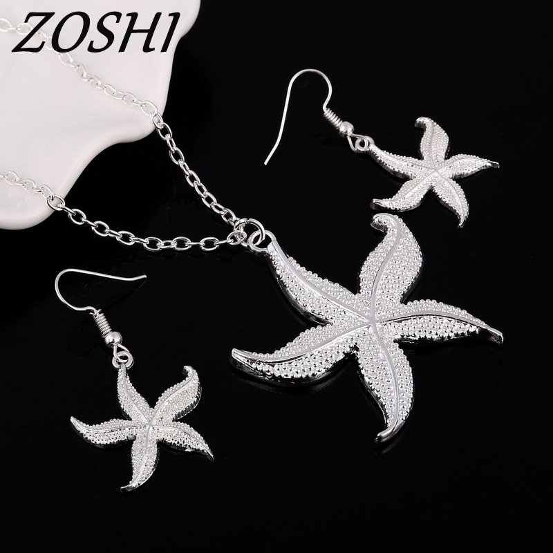 ZOSHI Promotions silver plated jewelry set fashion jewelry set Starfish Pendant Necklace Drop Earrings Jewelry Set Wedding Party