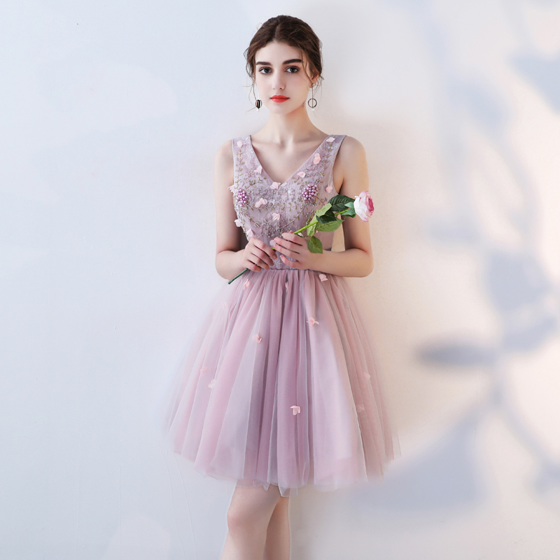 New pink purple sweet lady girl women princess bridesmaid banquet party dress gown