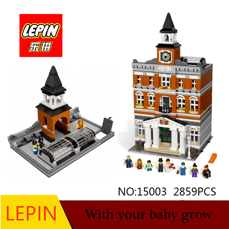 DHL Lepin 15003 2859PCS City Street The Town Hall Model Building Block Assembling Toys Kits compatible with legoed 10224 lepin 22001 pirate ship imperial warships model building block briks toys gift 1717pcs compatible legoed 10210