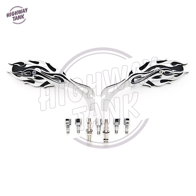 Chrome Flame Motorcycle Mirror Moto Rear View side Mirrors case for Harley Sportster XL Dyna Softail Electra Glide Chopper