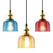 Nordic simple bedroom bedside lamp single head personality restaurant cafe bar chandelier color vintage glass lamps