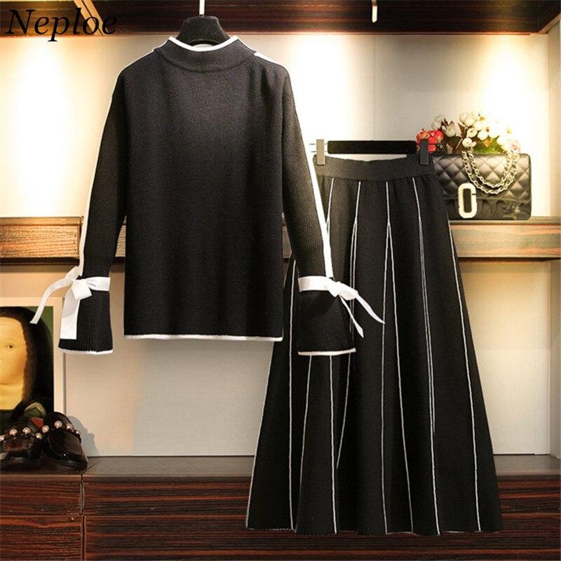 Suit Chandail Femmes Costume La Élastique Flare Deux Arc Taille Mode Dépouillé Pièces Printemps Neploe Skirt Jupe Sweater Manches Automne 2019 69566 Plus qCa1YFw