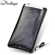 DICIHAYA Soft Cowhide Men Clutch Wallets Genuine Leather Long Purses Business Large Capacity Wallet Zipper Phone Bag For Male
