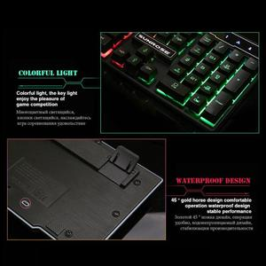 Image 4 - SUNROSE K201 USB Wired Gaming Keyboard 104 Keys 3 Color Backlight Splashproof Capacitive Feel Keyboard with Package for LOL Game