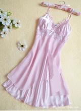 Women Sexy Silk Satin Night Gown Sleeveless Nightdress Lace Sleep Dress V-neck Nighties Night Shirt Fashion Sleepwear Nightwear
