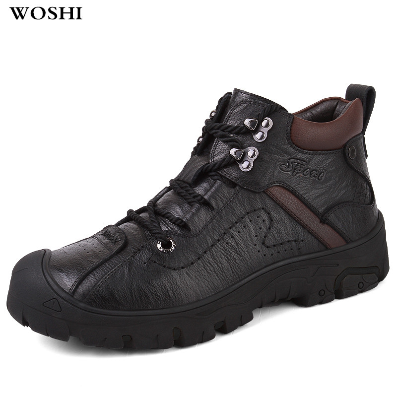 Fashion High quality Genuine leather Mens Boots with fur Lace-Up Style Ankle winter shoes keep warm Warm Man Snow Boots w3 цена
