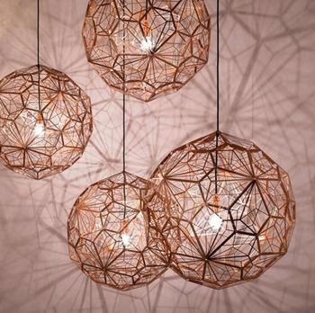 Nordic simple hollow etching honeycomb metal ball geometry lamp living room cafe plating exhibition hall LED pendant lamp.