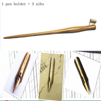 Hand Made Solid Wood Oblique Calligraphy Copperplate Script Hand Writing Dip Pen Set with 3 Nibs