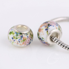 9* 14 mm Glass Beads Round Chamilia DIY Spacer European Murano Troll Chunky Czech Bead Charm Fit For Pandora Charms Bracelet(China)