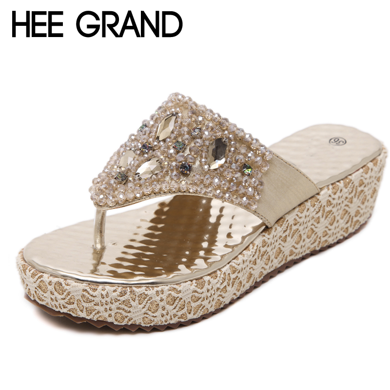 HEE GRAND Sliver 2018 Summer Flip Flops Faux Crystal Platform Slipper Beach Creepers Slip On Shoes Woman Casual Slippers XWX6718 hee grand summer gladiator sandals 2017 new platform flip flops flowers flats casual slip on shoes flat woman size 35 41 xwz3651