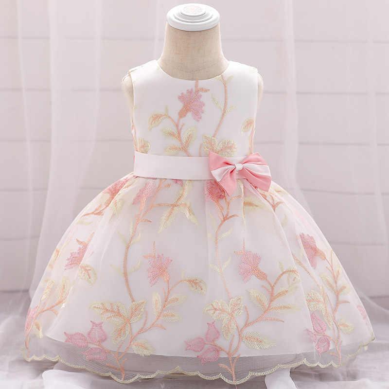 Dziewczynka sukienka noworodka w wieku 0-2 lat lato księżniczka kwiat sukienka suknia balowa puszyste kostium pierwsza komunia sukienki chrzest vestido