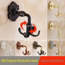 Купить с кэшбэком New Design Rotation Four hooks gold wall clothes rack cloth hook Jewelry hooks Robe Hook Kitchen Bathroom Accessory Hanger