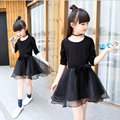 Girls dress long sleeves 2016 new autumn outfit cuhk children's recreational bow kids dress black children's princess dresses