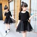 Meninas vestido de mangas compridas 2016 outono nova roupa recreativo cuhk das crianças arco vestidos de princesa das crianças vestir as crianças negras