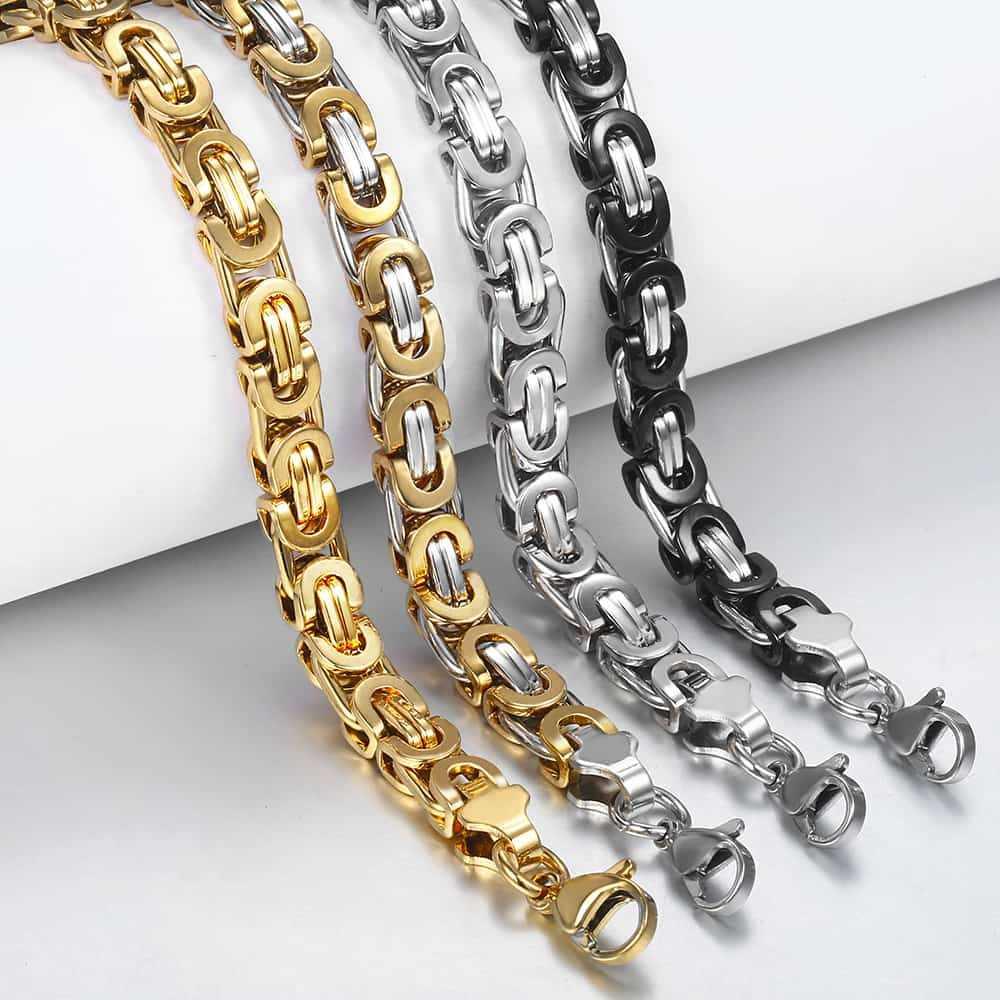 Davieslee bizantyjski łańcuch bransoletka dla mężczyzn złoty srebrny czarny ze stali nierdzewnej bransoletki męskie biżuteria hurtowych 6/8/11mm LKBM31