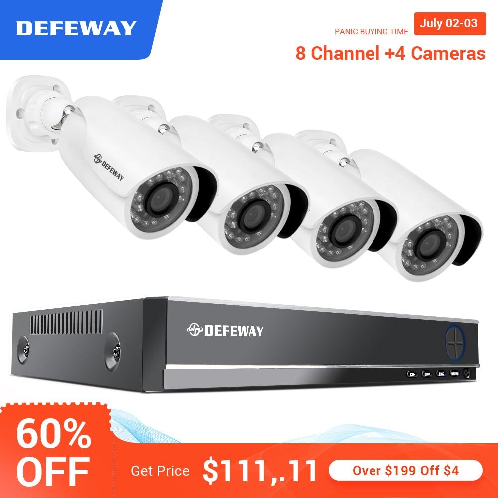 Kit de Vigilância de Vídeo 1080 P HD CCTV DEFEWAY 4 8CH CCTV AHD Câmera de Segurança Sistema de Vigilância de Vídeo Sistema de CCTV Ao Ar Livre câmera