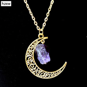 Hzew Sun Moon ювелирное изделие из золота с натуральным камнем Сейлор Мун ожерелье из хрусталя Подвеска для женщин