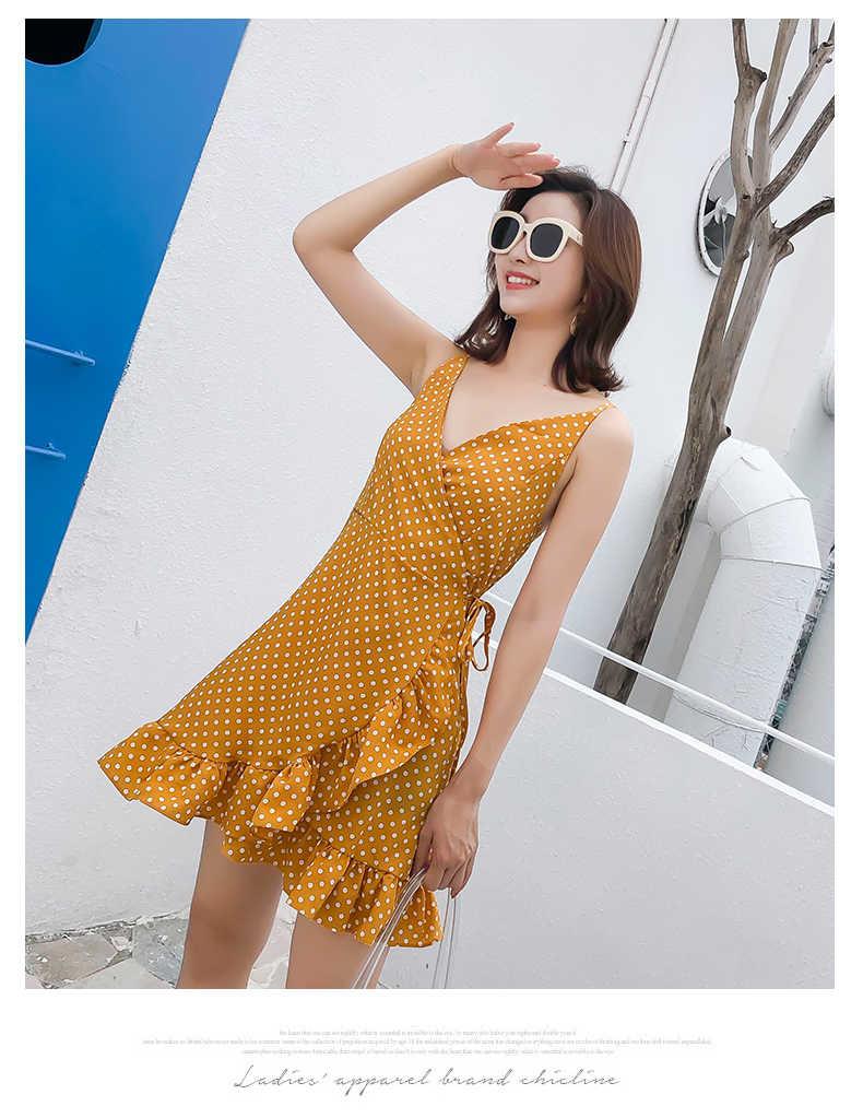 النساء نقطة نمط طباعة شاطئ فساتين غير النظامية الكشكشة هيم البسيطة اللباس 2019 أزياء مثير V الرقبة السباغيتي حزام Vestidos السيدات