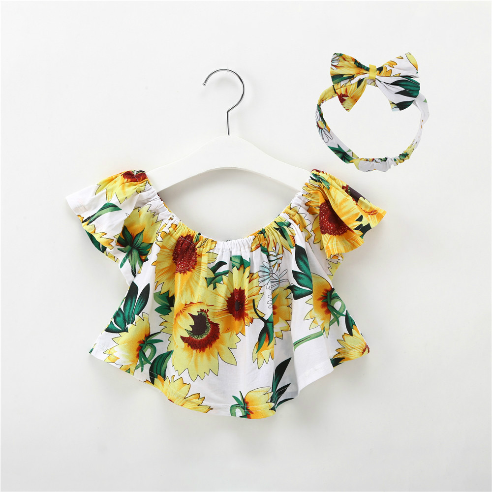 1-5Y Kids Girls Tops Cute Baby Clothes Girl Summer Fashion T-shirt Children Yellow T Shirt Sunflower Cotton Top Toddler Clothing fashion baby girl t shirt set cotton heart print shirt hole denim cropped trousers casual polka dot children clothing set