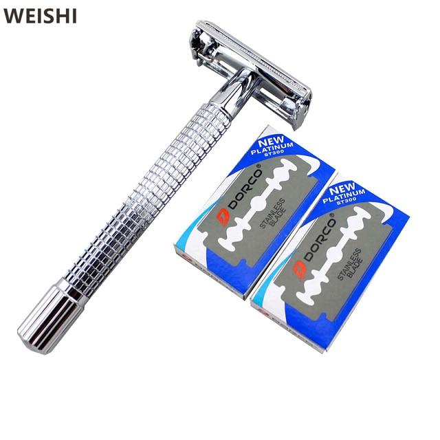 Weishi 9306fl с 10 шт. клинок длинной ручкой Chrome посеребренные Double Edge Детская безопасность Бритвы