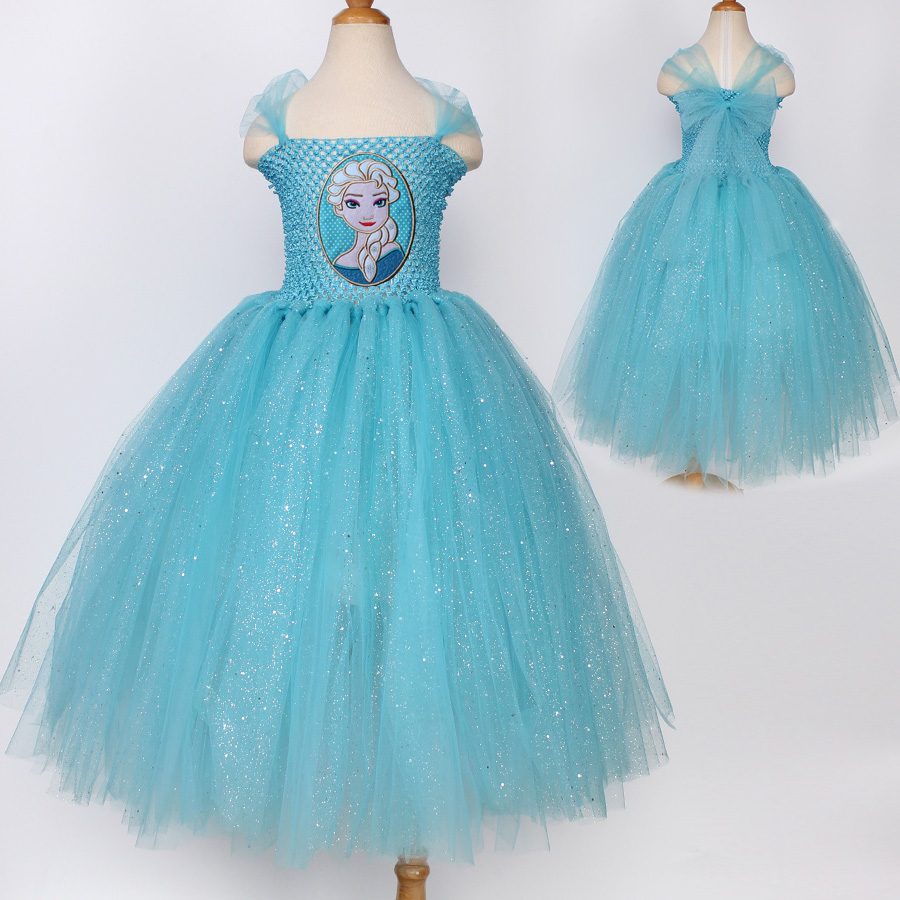 Long Design Princess Anna Elsa Dress Snow Queen Halloween Party ...