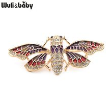 Wuli&baby Red And Blue Enamel Bee Brooches Alloy Rhinestone Bee Insects Brooches For Women And Men Party Wedding Banquet Brooch(China)