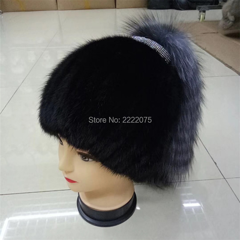 Autumn and winter new real mink braided silver fox wool cap warm fashion fur hooded hat the new children s cubs hat qiu dong with cartoon animals knitting wool cap and pile