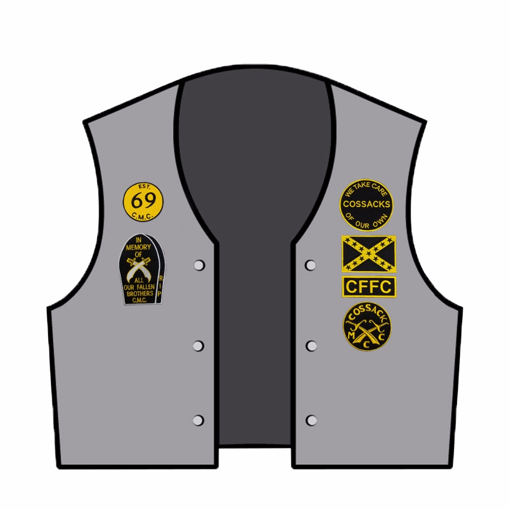 12pcs A SET COSSACKS TEXAS MC Embroidered Iron On Sew On Biker Rider Patch Full Back Size Jacket Vest SGT AT ARMS Rocker Patch in Patches from Home Garden