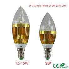 LED candle light E14 9W 12W 15W E14 Dimmable 110V 220V Led bulb lamp cool white / warm white CE ROHS