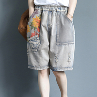 Womens Hot Jeans Denim Shorts Knee Length Ripped Holes Patchwork Embroidery Big Loose Casual Cute Fashion for Summer 98035