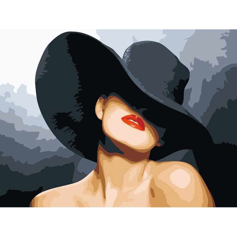 Black Hat Woman  DIY Oil Painting By Numbers Wall Art Acrylic Oil Canvas Paintings Home Decor For Living Room