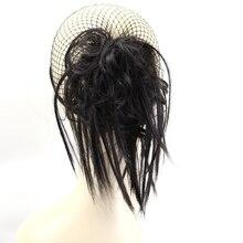 JOY& BEAUTY прямые Термостойкие волокна 3 цвета для женщин синтетические волосы булочки с резинкой черный плетение шиньон для невест