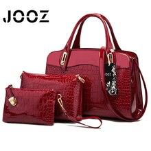 JOOZ Brand Crocodile Grain Lady Shoulder Bag Patent Leather 3 Pcs Composite Bags Set Women Crossbody Bag Handbag Wallet Clutches