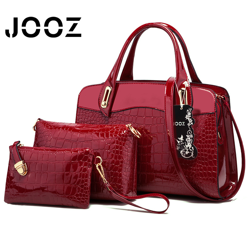 JOOZ Brand Patent Leather Crocodile Grain Lady Handbag 3 Pcs Composite Bags Set Women Crossbody Shoulder Bag Wallet Clutch Purse jooz brand luxury belts solid pu leather women handbag 3 pcs composite bags set female shoulder crossbody bag lady purse clutch