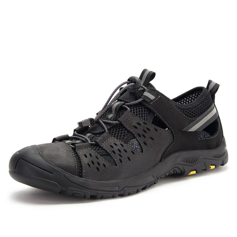2019 classique eau marche plage Sandalias sandale été nouveau en cuir véritable porte chaussures hommes sandales pour décontracté 5J1920