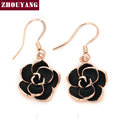 Top Quality Black Rose  White / Rose Gold Plated Drop Earrings Made with Genuine  Austrian Crystal Wholesale ZYE089 ZYE090