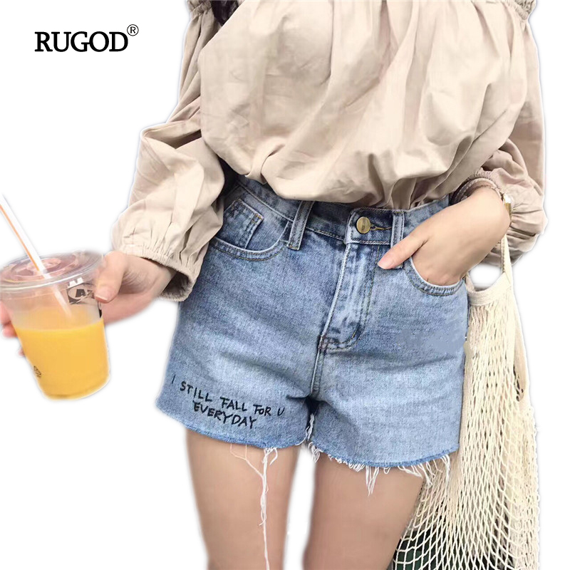 Rugod 2017 Summer Casual Shorts Women High Waist Denim Shorts Feminino Personality Scratched Slim Short Jeans Femme Short Mujer женские шорты short jeans 2015 feminino slim